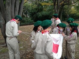 デイキャンプ 国旗掲揚準備.JPG